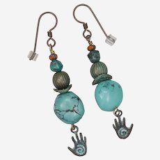 Turquoise and Brass Hamsa Earrings