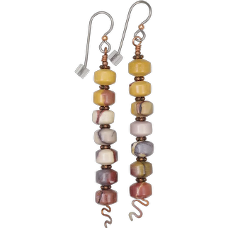 Mookaite Jasper and Copper 'Shish Kebab' Earrings