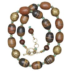 Jasper and Turquoise Necklace with Tibetan Beads