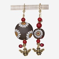 Bees among the Daisies - Asymmetrical Earrings