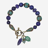 Lapis Lazuli and Tibetan Beads Bracelet with Turquoise