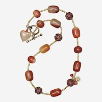Orange Carnelian and Sardonyx Heart Charm Necklace