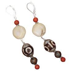 White Coral and Tibetan Bead Long Earrings