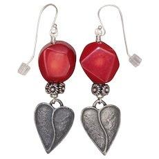 Red Coral and Heart Charm Earrings