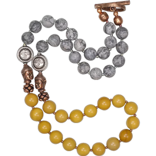 The Sunshine Necklace with Yellow Mookaite and Silver Crazy Lace Agate