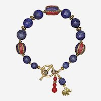 Lapis Lazuli Bracelet with Tibetan Beads