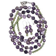Amethyst, Pearls and Peridot Long Necklace and Earrings Set