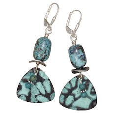 Turquoise and Guitar Pick Earrings