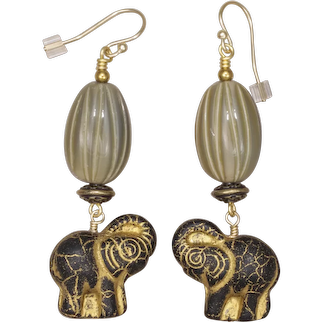 Black and Gold Elephant Earrings