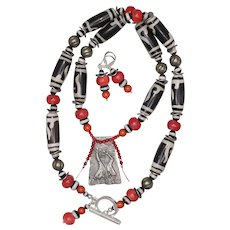 Love to Dance Necklace and Earrings Set with Dzi Agate and Coral