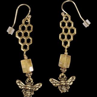 Citrine and Honey Bee Earrings