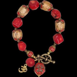 Red Coral Happy Bracelet