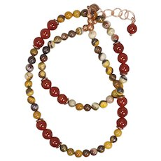 Carnelian and Tiger Iron Jasper Bold and Earthy Necklace