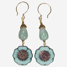 Amazonite Bud and Czech Glass Blue Hibiscus Earrings