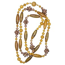 Yellow Fossil Coral, Moukaite Jasper, Freshwater Pearl and Enamel Long Necklace
