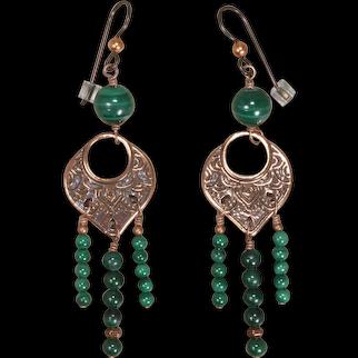 Green Malachite Boho Chandelier Earrings