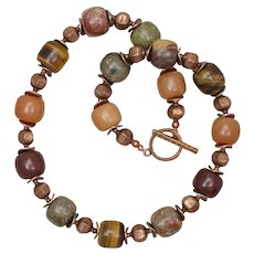 Multi Gemstone 'Pumpkin Spice' Necklace