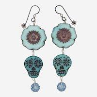 Blue Hibiscus and Sugar Skull Earrings