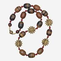 Jasper, Red Coral and African Metal Beads Necklace