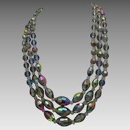 Peacock Leaded Crystal Necklace earrings Set c1960