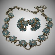 Cornflower Rhinestone Choker Necklace Earrings Set c1950