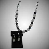 Cut Crystal Clear and Smokey Gray Necklace Silver Clasp
