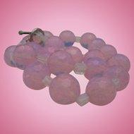 Czech Opalite Petal Pink Faceted Necklace