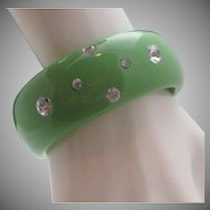Think Green Plastic Rhinestone Bangle 1 inch wide
