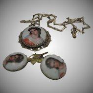 Limoge Necklace Pierced Earrings set Marino