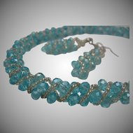Woven Crystal Aqua and Silver Necklace earrings Set c1970