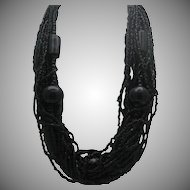 Exotic Ebony Glass Necklace Matching Bracelet c1980
