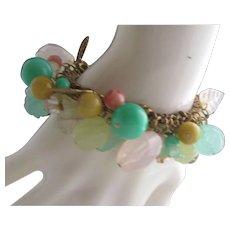 Glass Turquoise Rose Quartz  Charm  Bracelet