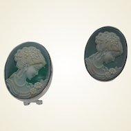 Green Glass Cameo Lever Back Earrings 1980