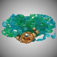 Blue Green Plastic Mid century Necklace