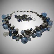 Blues Blue Art Glass Necklace Pierced Earrings