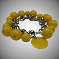 Funky 60's Yellow Celluloid Bead Bracelet
