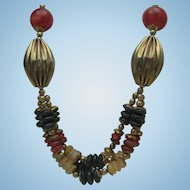 Ethnic Carnelian Brass Necklace
