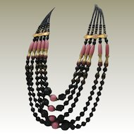 French Jet  Pink Glass Etruscan Style Necklace