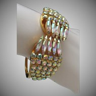 Mid Century Aurora Borealis Rhinestone Cocktail Bracelet