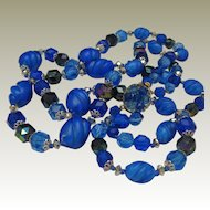 West Germany Plastic Necklace Electric Blue
