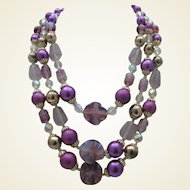 Lilac Art Glass Necklace Earrings c1970