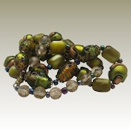 Green Foiled Glass Wedding cake Necklace 1950 28 inches