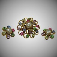 Coro Brooch Earrings Set 1960