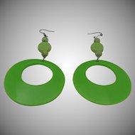 Lime Green Plastic Earrings 1960