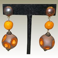 c1970 Pottery Earrings Pierced