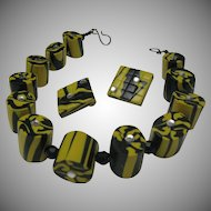 Deco Style Polymer Clay Necklace Earrings 1960