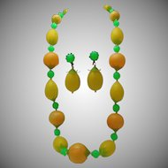 Lemon Lime Orange Necklace Earrings c1960