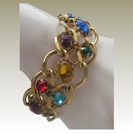 Multi Stoned Gold Toned Bracelet 1970