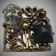 Marked Selro Noh Mask Brooch