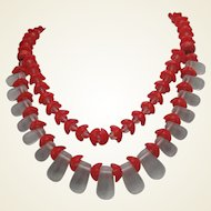 Art Deco  Red Clear Glass Festooned Necklace